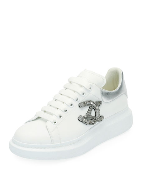 Alexander McQueen Men's Crest Patch Leather Low-Top Sneakers