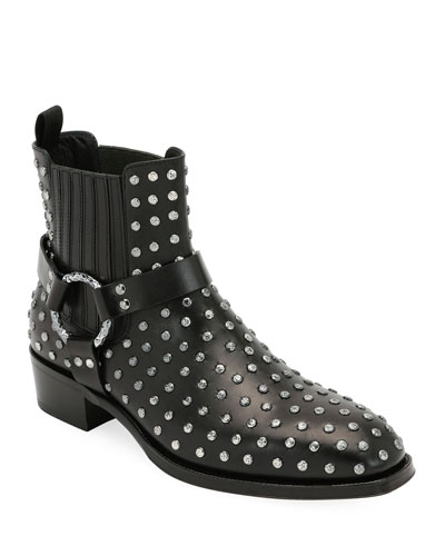 Men's Studded Leather Moto Boot