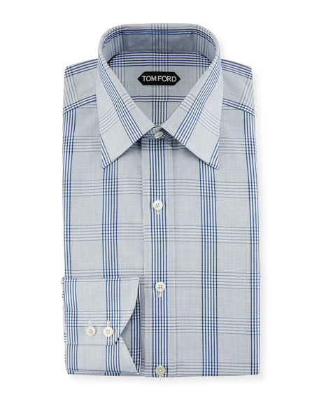 TOM FORD Plaid Cotton Dress Shirt, Blue