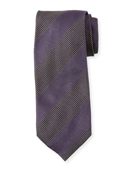 Wide Textured Stripe Silk Tie