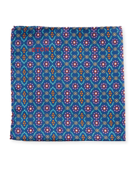 Floral and Medallion-Print Silk Pocket Square