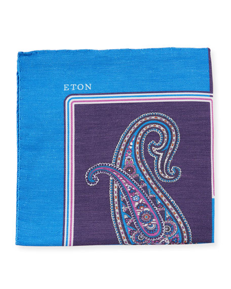 Eton Paisley Linen/Silk Pocket Square