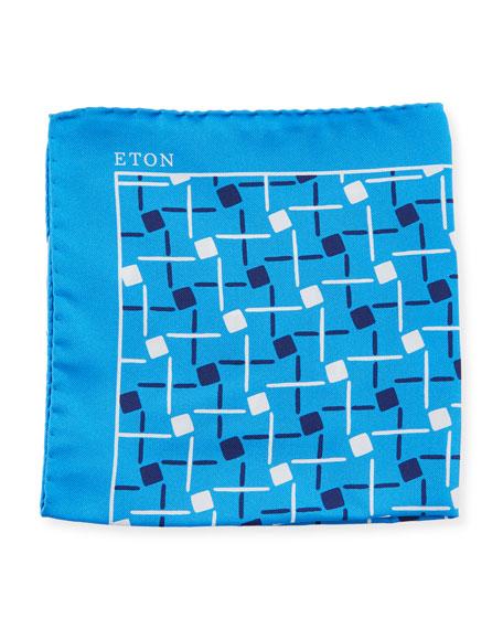 Eton Open Ground Geometric Silk Pocket Square