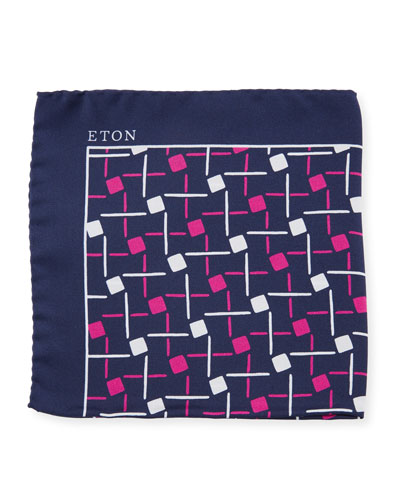 Open Ground Geometric Silk Pocket Square, Purple