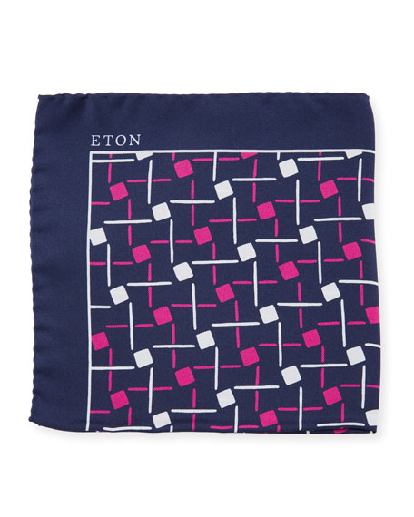 Eton Open Ground Geometric Silk Pocket Square, Purple