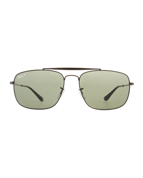 Men's Polarized Square Metal Aviator Sunglasses