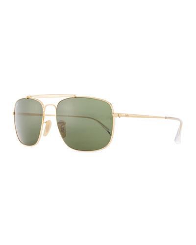 Men's Square Metal Aviator Sunglasses