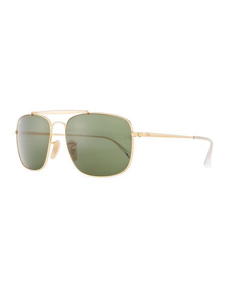 Ray-Ban Men's Square Metal Aviator Sunglasses