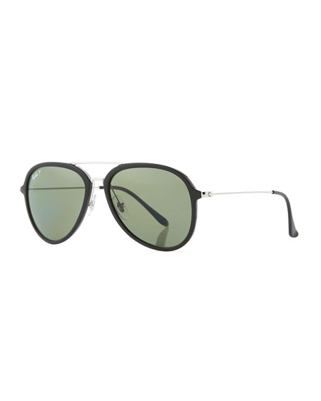 Ray-Ban Men's Polarized Propionate Aviator Sunglasses, Black