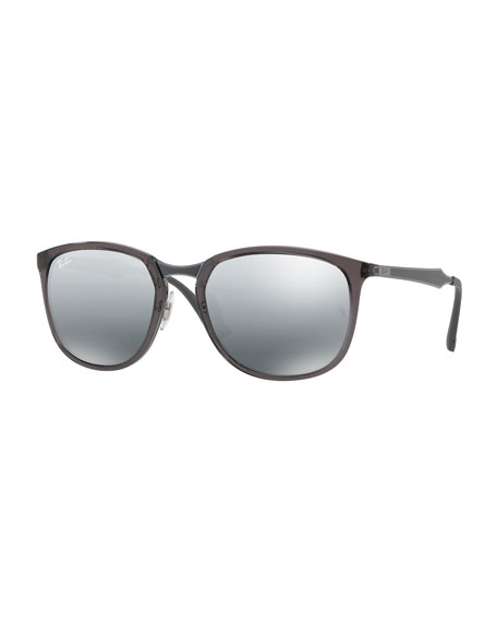 Men's Round Propionate Mirrored Sunglasses