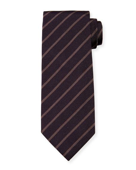 Neat Diagonal-Stripe Silk Tie