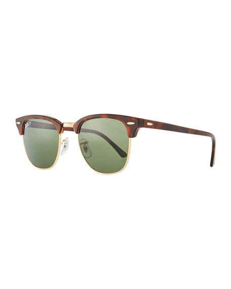 Ray-Ban Men's Classic Clubmaster Polarized Half-Rim Sunglasses