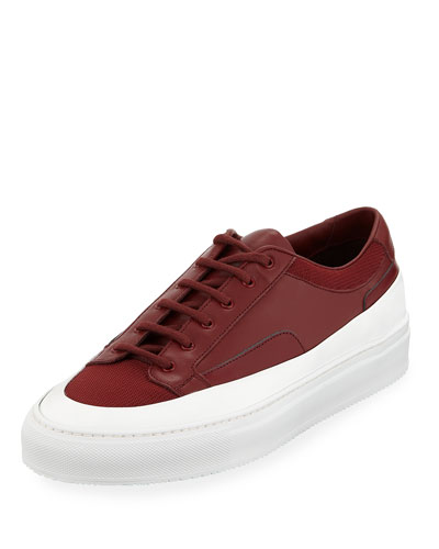Men's Achilles Super Platform Leather Low-Top Sneakers, Red