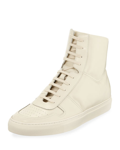 COMMON PROJECTS Men'S Bball Leather High-Top Sneakers in 3001 W.Wht