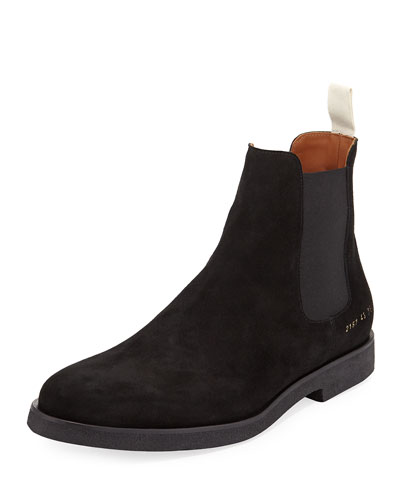Men's Calf Suede Chelsea Boot, Black