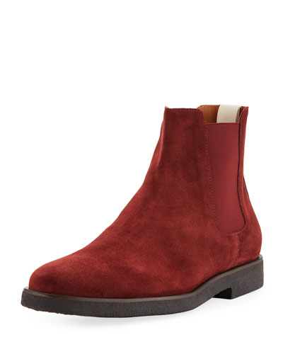 Men's Calf Suede Chelsea Boots, Red