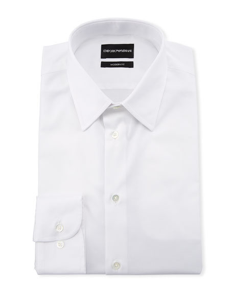 Men's Modern-Fit Cotton-Stretch Dress Shirt, White