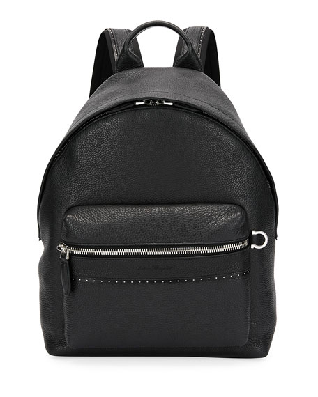 Men's Firenze Grained Leather Backpack, Black