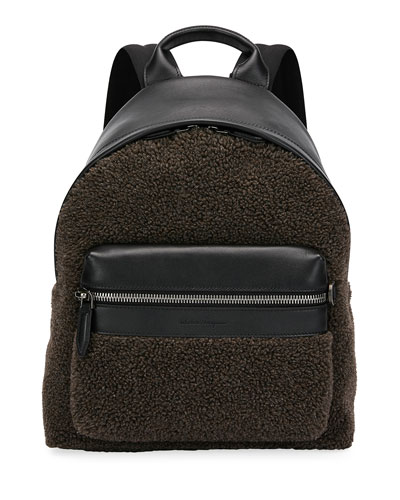 Men's Leather-Trim Sherpa Backpack
