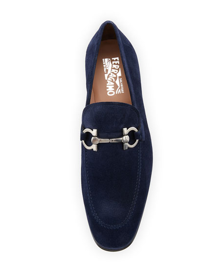 Men's Suede Gancini Loafer, Navy