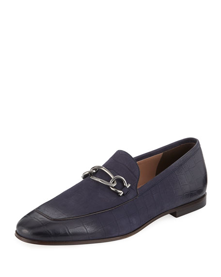 Salvatore Ferragamo Men's Croc-Textured Leather Loafer