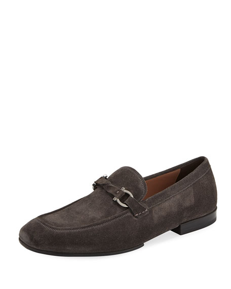 Men's Suede Gancini Loafer, Gray