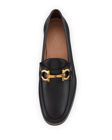 Men's Leather Vintage Gancini Loafer, Black