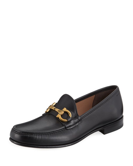 Salvatore Ferragamo Men's Leather Vintage Gancini Loafer, Black