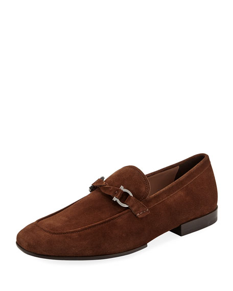 Salvatore Ferragamo Men's Barry Suede Rubber-Sole Gancini Loafer,