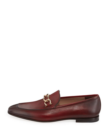 Men's Burnished Leather Loafer with Chain Bit