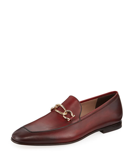 Salvatore Ferragamo Men's Burnished Leather Loafer with Chain