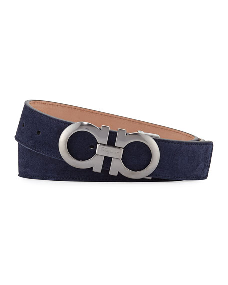 Men's Suede Gancini-Buckle Belt