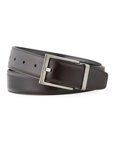 Men'S Square-Buckle Reversible Leather Belt in Black