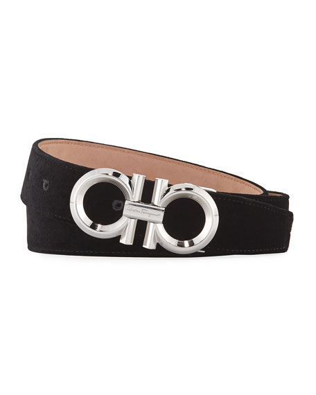 Men's Velvet Rhodium Gancini-Buckle Belt, Black