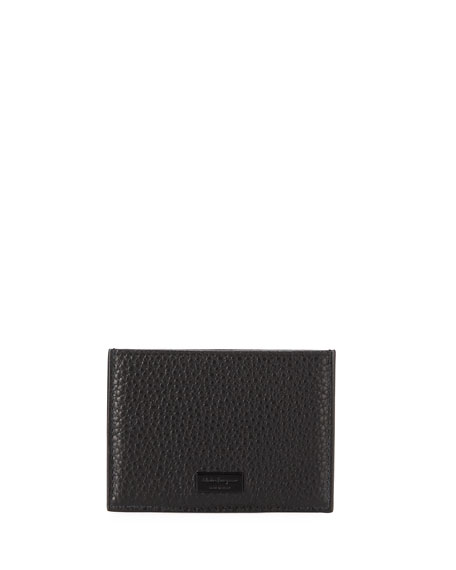 SALVATORE FERRAGAMO Men'S Firenze Flat Leather Card Case, Black