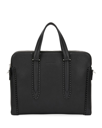 Men's Firenze Studded Leather Briefcase