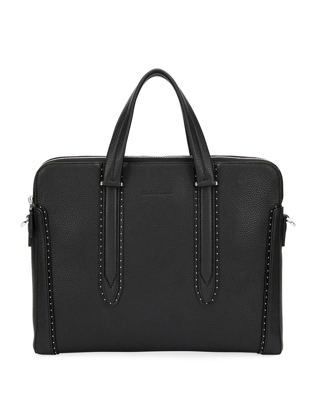 Salvatore Ferragamo Men s Firenze Studded Leather Briefcase   Neiman ... f256ec7e76