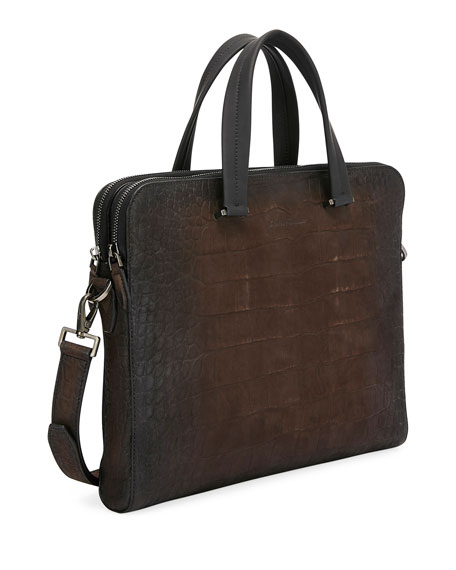 Men's Firenze Animal Embossed Leather Briefcase