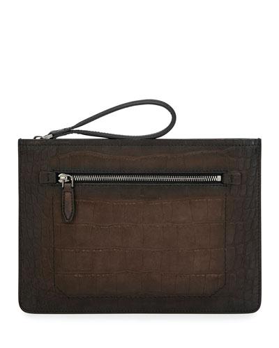 Men's Firenze Croc-Stamp Leather Zip-Top Pouch