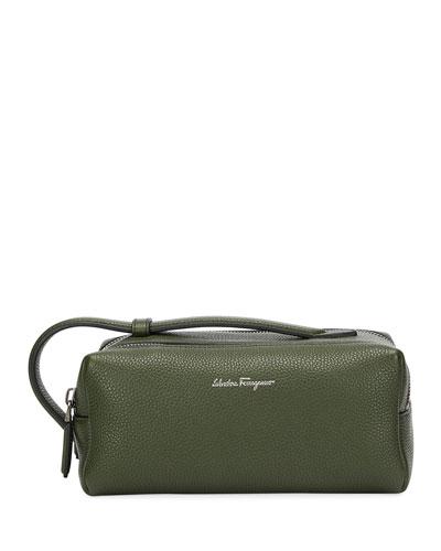 Men's Firenze Leather Toiletry Bag, Green