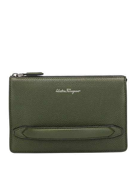 Men's Firenze Leather Pouch with Handle, Green