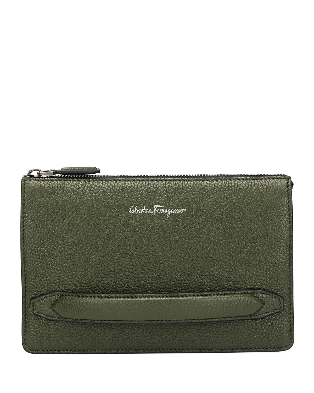 Salvatore Ferragamo Men s Firenze Leather Pouch with Handle, Green ... 41f635b5b2