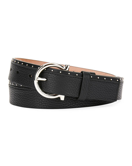 Men's Studded Leather Gancio-Buckle Belt