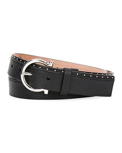 Men's Studded Leather Gancio-Buckle Belt