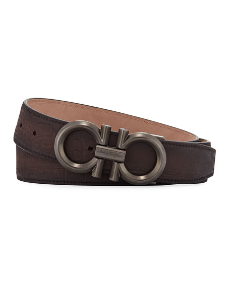 Men's Stamped Leather Gancini Buckle Belt