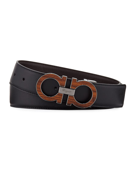 Salvatore Ferragamo Men's Suede Wood-Inlay Gancini-Buckle Belt