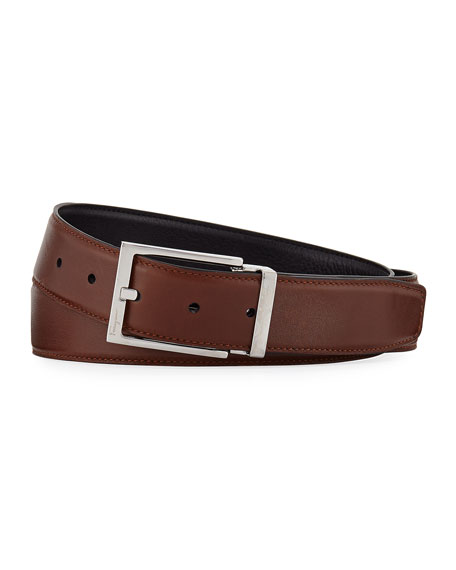 Men's Reversible Vitello Leather Belt, Brown/Black