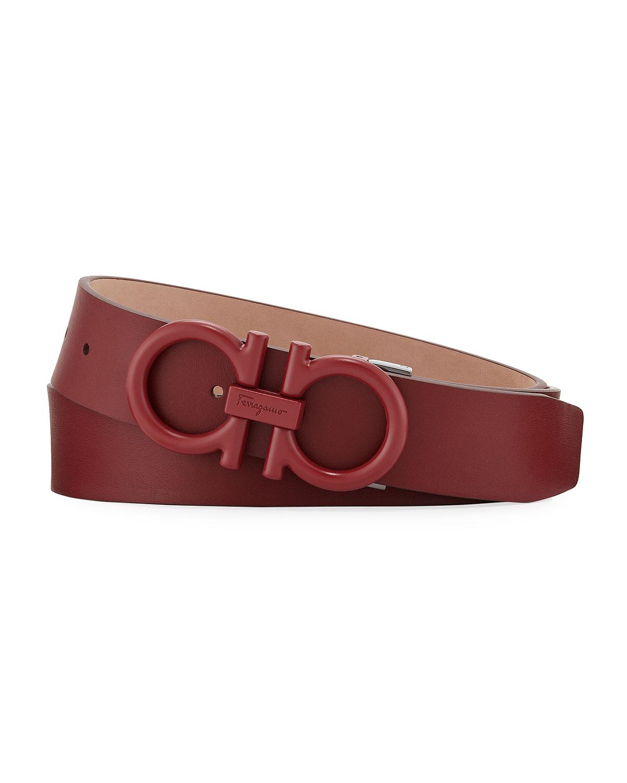 Salvatore Ferragamo Men s Matte-Gancini Leather Belt, Red   Neiman ... 08498330f4