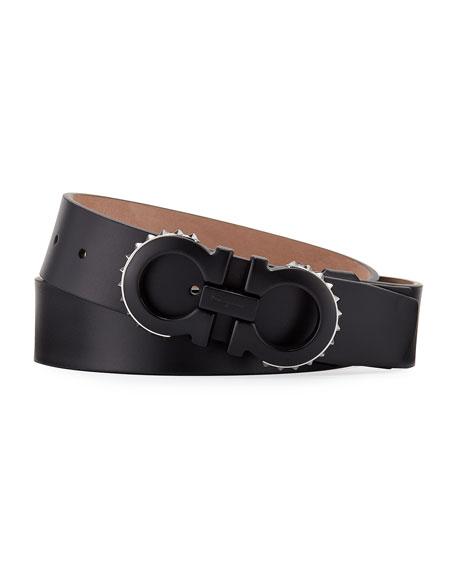 Men's Spiked Matte-Gancini Leather Belt, Black