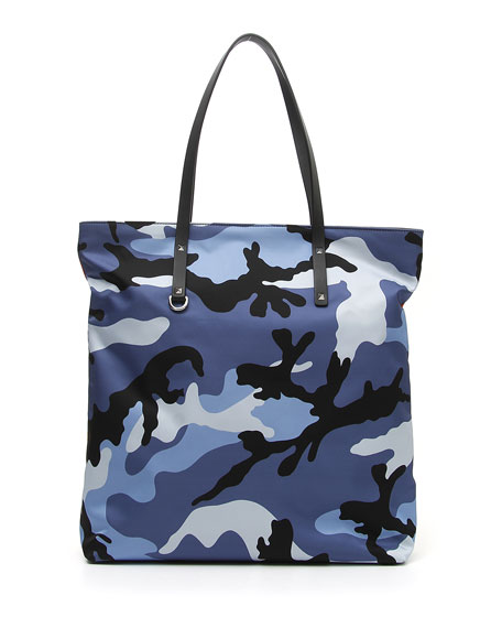 Men's Camo Nylon Tote with Leather Trim